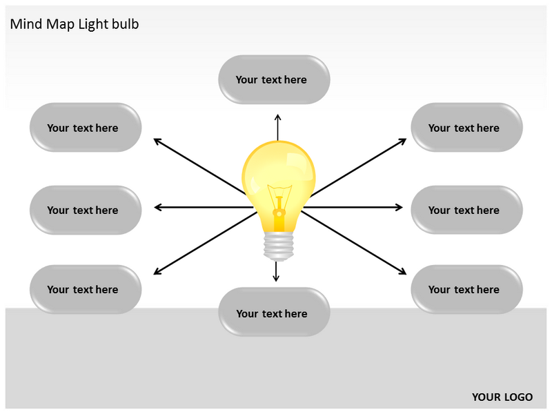 mind map light bulb powerpoint templates and backgrounds, Modern powerpoint