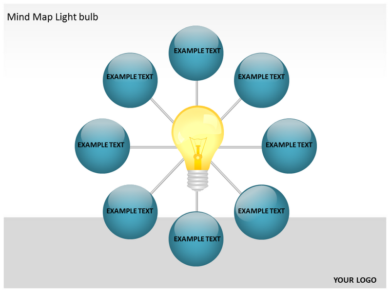 mind map light bulb powerpoint templates and backgrounds, Powerpoint templates