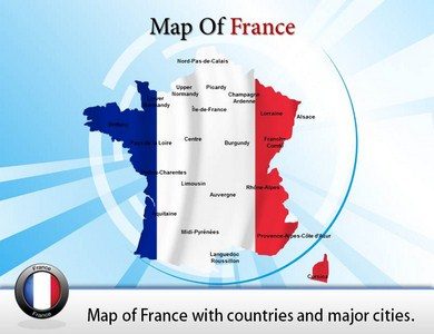 Map of France PPT Presentation Template
