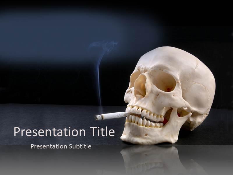 Attractive no smoking powerpoint template background of skull download toneelgroepblik Images