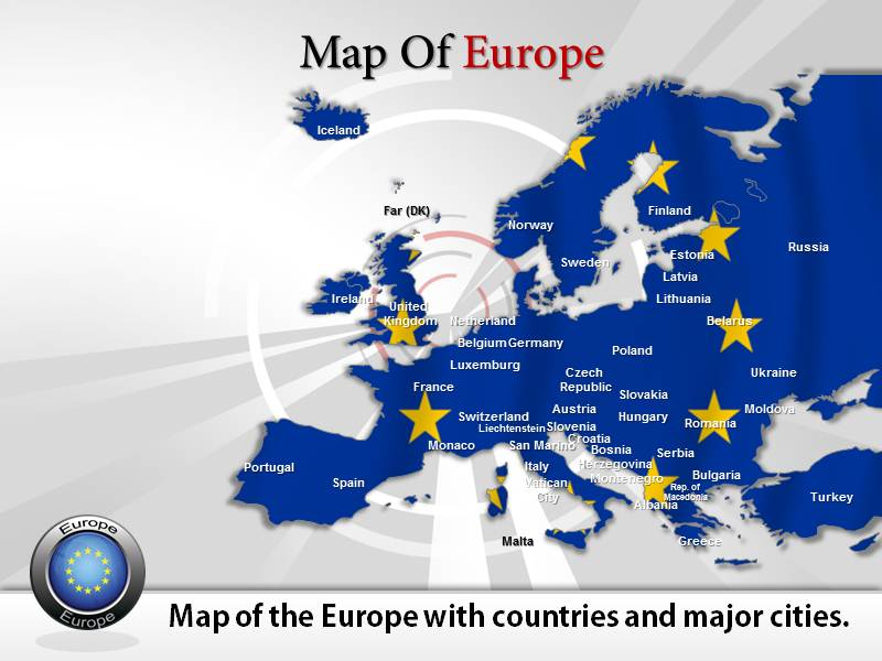 map of europe powerpoint templates  ppt background slides  themes