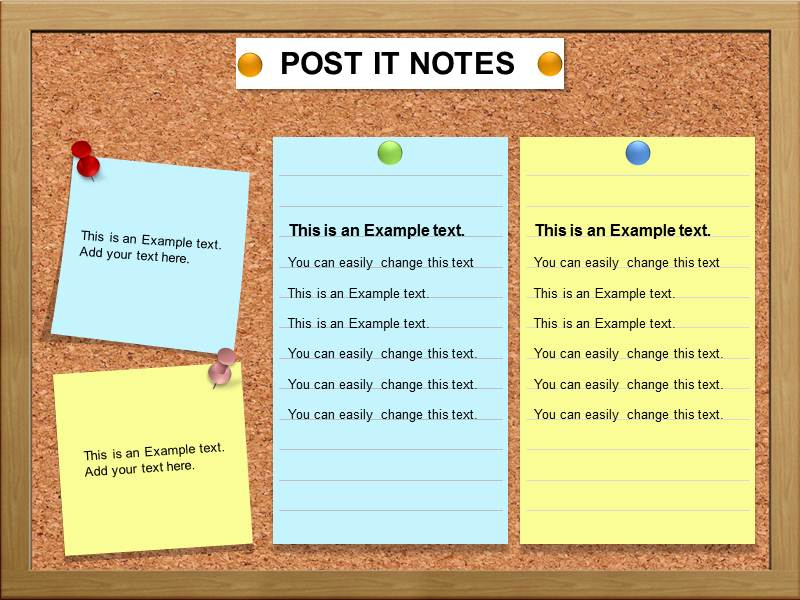Post It Note Powerpoint Template Background Of Charts Diagrams