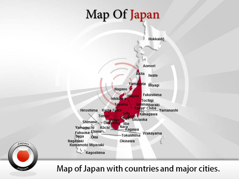 maps of japan powerpoint templates and backgrounds, Modern powerpoint
