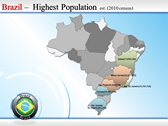 Map of Brazil background PowerPoint Templates
