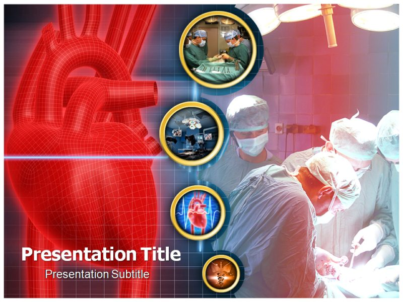 cardiac sugery powerpoint template background of surgeon, patient, Modern powerpoint
