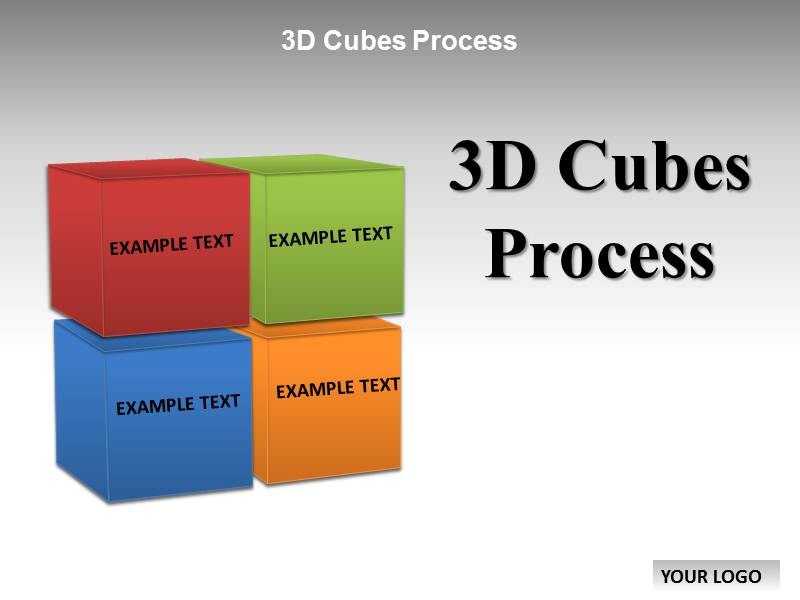 3d cubes process chart templates for powerpoint | 3d cubes process, Modern powerpoint