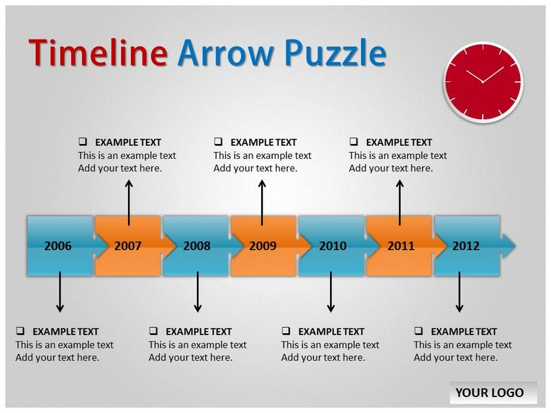 timeline arrow puzzle chart powerpoint templates and backgrounds, Modern powerpoint