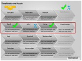 Timeline Arrow Puzzle Chart ppt templates