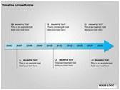 Timeline Arrow Puzzle Chart power Point templates