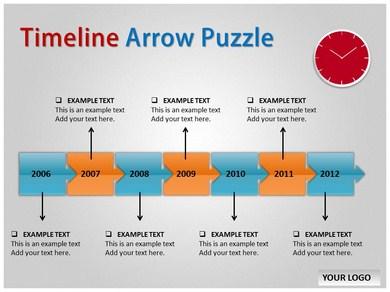 Timeline Arrow Puzzle Chart PPT Presentation Template