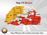 Map of Bhutan Templates For Powerpoint