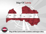 Map of Latvia Templates For Powerpoint