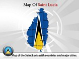 Map of Saint Lucia Templates For Powerpoint