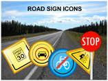 Road Signs Icons Templates For Powerpoint