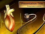 Heart Stethoscope PowerPoint Template, Heart Stethoscope PowerPoint Slide Templates