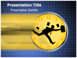 Businessmann Running Around Clock PowerPoint Templates