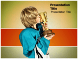 Boy Holding Winner Trophy Templates For Powerpoint