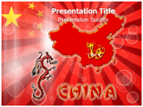China Map Outline On Red Background Templates For Powerpoint