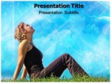Woman Relaxing On Grass PowerPoint Templates