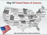 USA Map With Flags Templates For Powerpoint