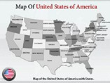 USA Map With States Templates For Powerpoint