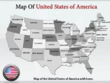 USA Map With Icons Templates For Powerpoint