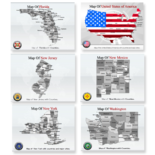 Bundle of United States Maps Templates for Powerpoint