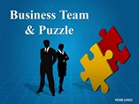 Business Team and Puzzle PowerPoint Template