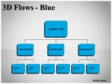 3D Flows Blue Powerpoint Template
