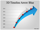 3D Timeline Arrow Blue Template PowerPoint