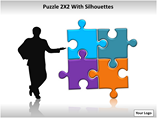 Puzzel 2x2 with Silhouettes PowerPoint Template