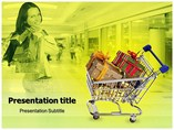 Shopping cart on green background Templates For Powerpoint