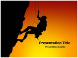 Silhouette Of Rock Climber Powerpoint Template
